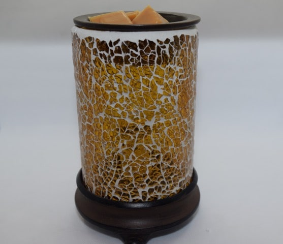 Crackled Amber Glass Wax Warmer Includes Warming Bulb